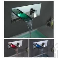 Wall Mounted Led Waterfall Faucet by 92 99 Contemporary Chrome Finish Led Color Change Waterfall