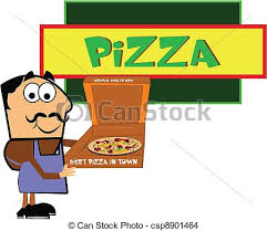 Pizza Man Shop Owner In Front Of His Store Displaying