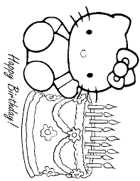 Lovely Hello Kitty Birthday Coloring Pages 77 With Additional Site