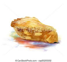 Slice Apple Pie Watercolor Stock Illustration