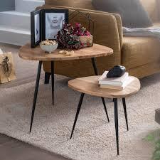 finebuy 2er set satztisch akazie massivholz metall couchtisch klein design beistelltisch set zwei holz tische wohnzimmertisch tisch