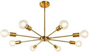 lynpon sputnik kronleuchter einstellbare höhe mit 4 stangen 8 flammig messing gold pendelleuchte metall für wohnzimmer schlafzimmer küche