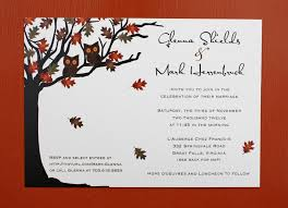 Owls In A Fall Oak Tree Wedding Invitations