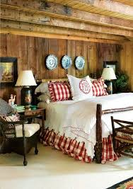 Vintage Red Checked Bedding In The Rustic Cabin Bedroom