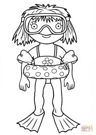 Click The Little Princess Goes Snorkeling Coloring Pages