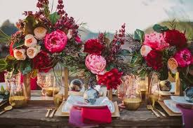 Colorful And Luxe Wedding Centerpieces In Shades Of Red Pink Gold