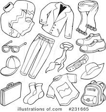 Summer Clothes Clipart Black And White 1