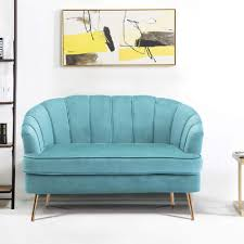 Warmiehomy Comfy Velvet 2 Seater Sofa 2 Tub Chair/Sofa Seating Double Couch  Lounge Living Room Furniture (Turquoise)