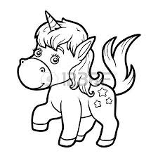 Coloring Book For Children Page With Little Unicorn Illustration