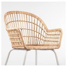 nilsove chair with armrests rattan white