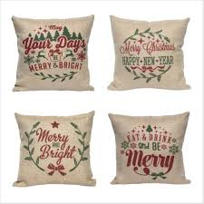 Christmas Pillow Cover Faux Burlap Rustic Holiday Decor