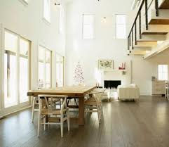 High Ceilings Dining Room With Laminate Floor
