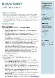 Nurse Consultant II Resume Sample