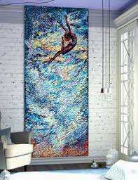 Fashionable Idea Large Abstract Wall Art CANVAS PRINT Vertical Huge Sepia Gray Giclee Canvas Print Sky Flying Girl Big Oversized Poster Blue