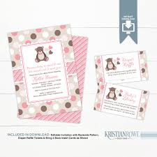 Bear Baby Shower Invitation Girl Editable Template Teddy Bear Baby Shower Invites Pink And Brown Polka Dots Stripes Instant Download 7058