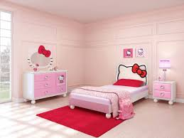 bedroom pink hello themed of single bed frame dresser