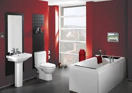 Modern Bathroom: Small Bathroom Design In Red And White, Red ... Fantastic Brown Bathroom Decorating Ideas On 14 New 97 Stylish Truly Masculine Dcor Digs Refreshing Pink Color Schemes Decoration Home Modern Small With White Bathtub And Sink Idea Grey Unique Top For 3 Apartments That Rock Uncommon Floor Plans Awesome Collection Of Youtube Downstairs Toilet Scheme