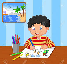 Cartoon Little Boy Drawing Royalty Free Cliparts Vectors And