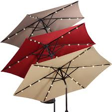 Solar Lighted Patio Umbrella by 9ft Patio Solar Umbrella Led Patio Market Steel Tilt W Crank