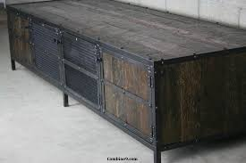 Reclaimed Wood Entertainment Center Rustic Media Console TV Stand Modern Industrial Credenza Vintage Style