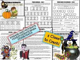 Halloween Picture Books For 4th Grade by Grade Halloween Math Activity Halloween Math Mystery Review