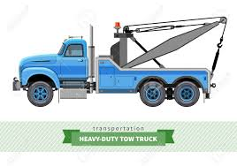 100 Tow Truck Clipart Classic Heavy Duty Side View Vector Isolated Illustration