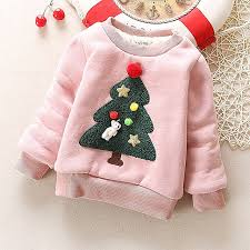 Winter Children Kids Boys Girls Christmas Sweater Baby Plus Velvet Thick Sweatshirts Tree Warm