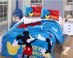 mickey mouse minnie bedding set design blue red decor crave