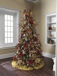 Burgundy And Gold Decorated Christmas Tree