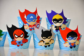 Super Heroes Party Cupcake Wrappers Flash Toppers With