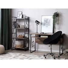 regal dunkler holzfarbton schwarz spanplatte metall 143 x 64 x 40 cm industriell trendy praktisch 4 fächer viel stauraum wohnzimmer