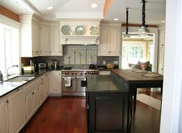 Kitchen Europian Model Ideas With L Design Cabinets White Colors Also Black Countertops Decor