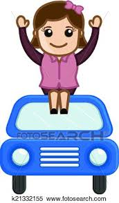 Clipart Of Happy Girl Sitting Over The Car K21332155