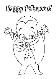 Halloween Little Funny Vampire Coloring Page For Kids Printable Free
