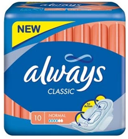 Always Classic Normal Sanitary Towels Wings - 10pk