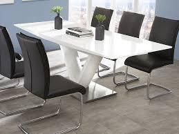 säulentisch ausziehbar hochglanz weiß esstisch 160 220 x90
