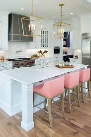 White kitchen with pink bar stools HOUSE Pinterest