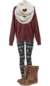 Winter Outfit Chunky Sweater Printed Knit Leggings Boots A Scarf