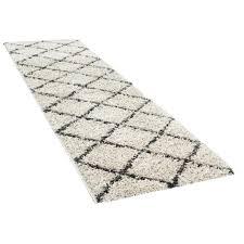 hochflor teppich shaggy für wohnzimmer skandi stil u rauten design in beige grösse 300x400 cm