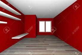 rot leer wohnzimmer dekorieren weißen regalen mit holzfußboden