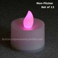 Tall No Flicker Flameless Tea Lights Pink LED Battery Operated Set