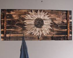 Sunflower Farmhouse Decor Large Wall Art Sunflowers Rustic Wood