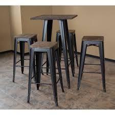 100 Loft Style Home Ameri 30 In Bar Table Set In Black With Dark Elm