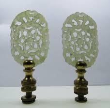 Swarovski Crystal Lamp Finials by Vintage Pair Of Carved Celadon Jade Lamp Finials F I N I A L S