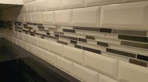 kitchen backsplash subway 3 x 6 beveled w glass metal band