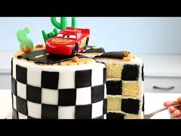 CARS 3 CAKE with CHECKERED Flag INSIDE