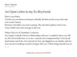 An Open Letter to my Ex Boyfriend by Drew Vincent Hello Poetry