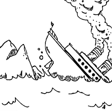 Titanic Sink After Crash Into An Iceberg Coloring Pages