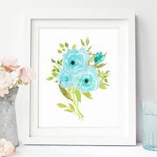 Blue Floral Wall Art Printable Flower Artwork Boho Chic