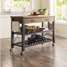 Industrial Small Kitchen Island Cart With Two Drawers And Wheels